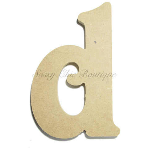 "Unfinished Wooden Letter - Lowercase ""d""- Victorian Font"