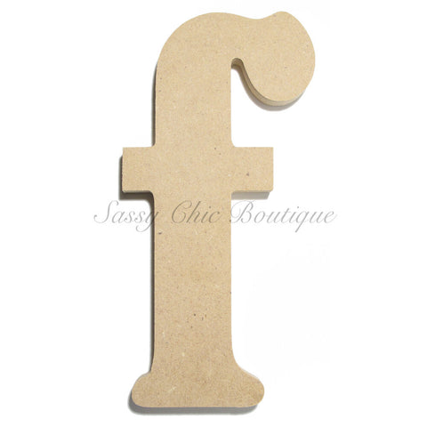 "Unfinished Wooden Letter - Lowercase ""f""- Victorian Font"
