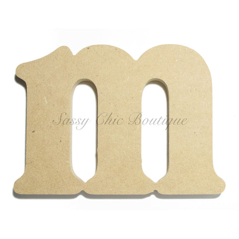 "Unfinished Wooden Letter - Lowercase ""m""- Victorian Font"