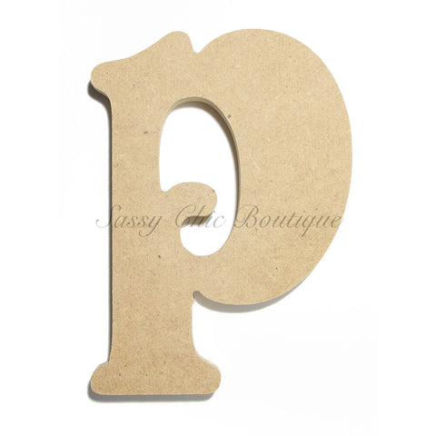 "Unfinished Wooden Letter - Lowercase ""p""- Victorian Font"