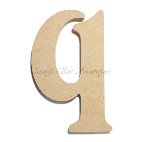 "Unfinished Wooden Letter - Lowercase ""q""- Victorian Font"