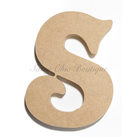 "Unfinished Wooden Letter - Lowercase ""s""- Victorian Font"