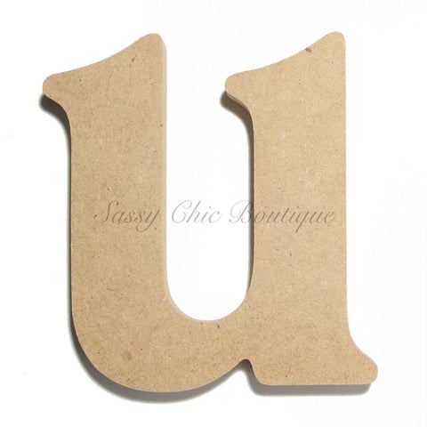 "Unfinished Wooden Letter - Lowercase ""u"" - Victorian Font"
