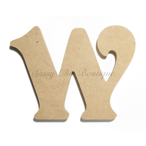 "Unfinished Wooden Letter - Lowercase ""w"" - Victorian Font"