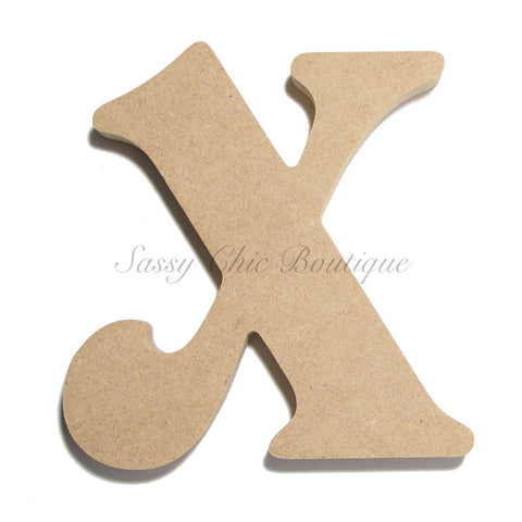 "Unfinished Wooden Letter - Lowercase ""x"" - Victorian Font"