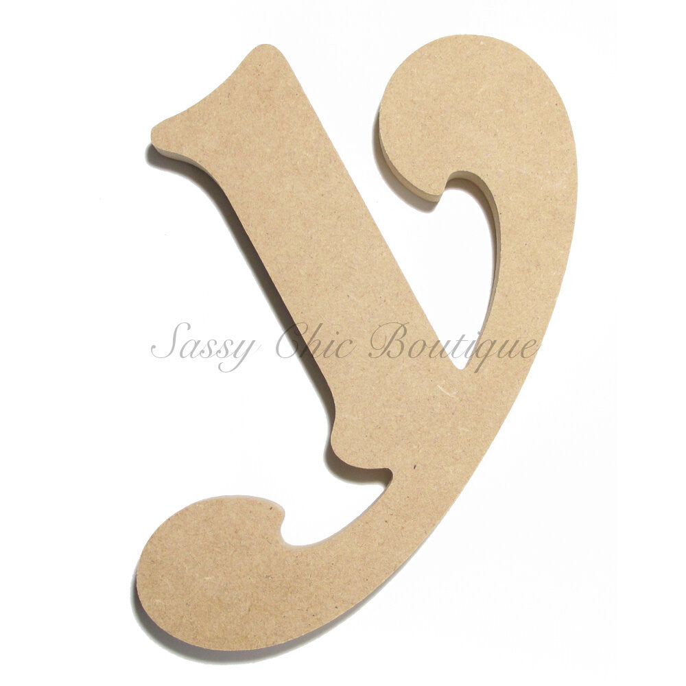 "DIY-Unfinished Wooden Letter - Lowercase ""y"" - Victorian Font-Sassy Chic Boutique"