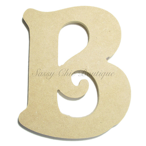 "Unfinished Wooden Letter - Uppercase ""B"" - Victorian Font"