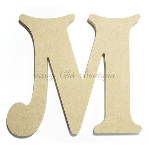 "Unfinished Wooden Letter - Uppercase ""M"" - Victorian Font"