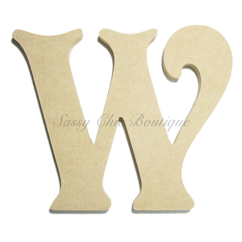 "DIY-Unfinished Wooden Letter - Uppercase ""W"" - Victorian Font-Sassy Chic Boutique"
