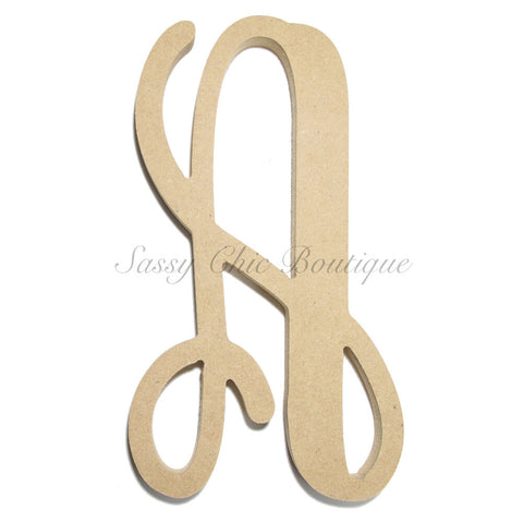 "Unfinished Single Wooden Monogram - Lowercase ""a"" - Vine Font"