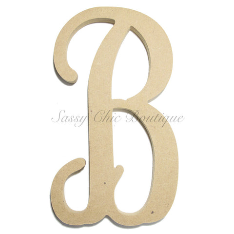 "Unfinished Single Wooden Monogram - Lowercase ""b"" - Vine Font"