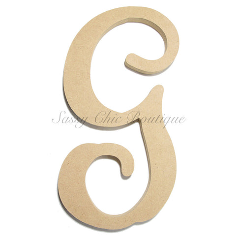 "Unfinished Single Wooden Monogram - Lowercase ""g"" - Vine Font"