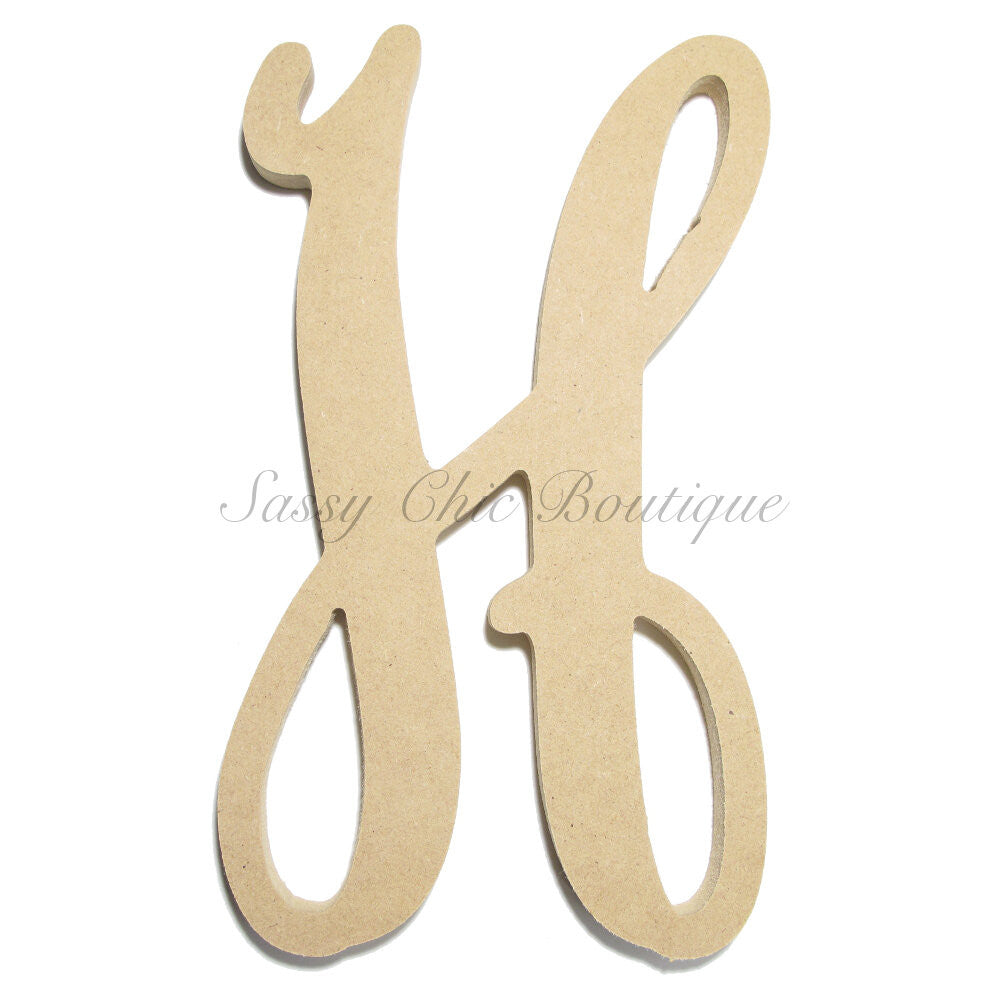 "DIY-Unfinished Single Wooden Monogram - Lowercase ""h"" - Vine Font-Sassy Chic Boutique"