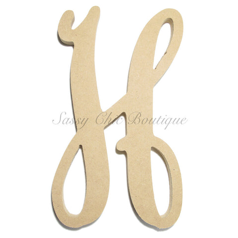 "Unfinished Single Wooden Monogram - Lowercase ""h"" - Vine Font"