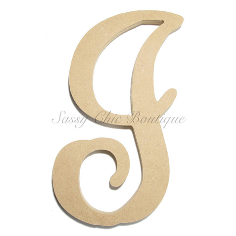 "Unfinished Single Wooden Monogram - Lowercase ""i"" - Vine Font"