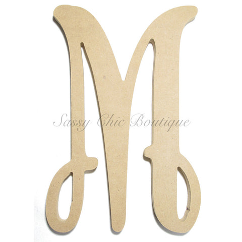 "Unfinished Single Wooden Monogram - Lowercase ""m"" - Vine Font"