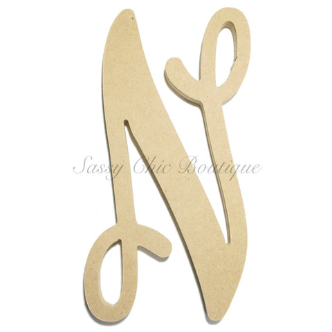 "Unfinished Single Wooden Monogram - Lowercase ""n"" - Vine Font"