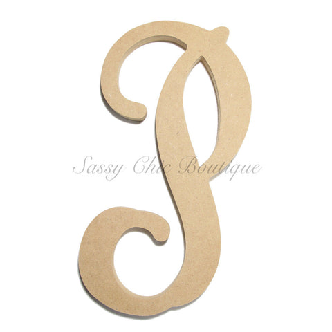 "Unfinished Single Wooden Monogram - Lowercase ""p"" - Vine Font"
