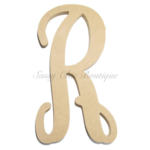 "Unfinished Single Wooden Monogram - Lowercase ""r"" - Vine Font"