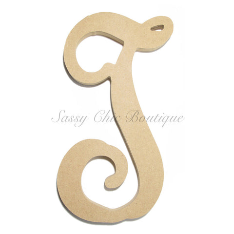 "Unfinished Single Wooden Monogram - Lowercase ""t"" - Vine Font"