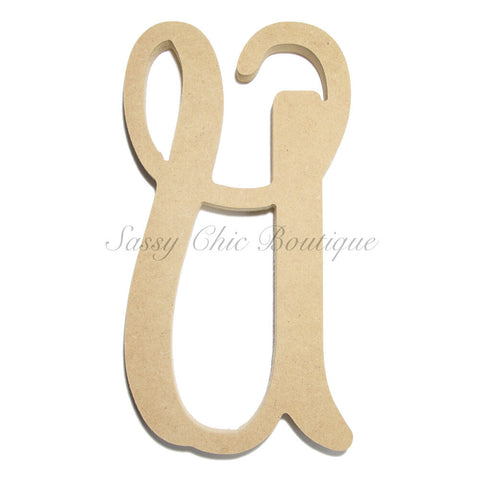 "Unfinished Single Wooden Monogram - Lowercase ""u"" - Vine Font"
