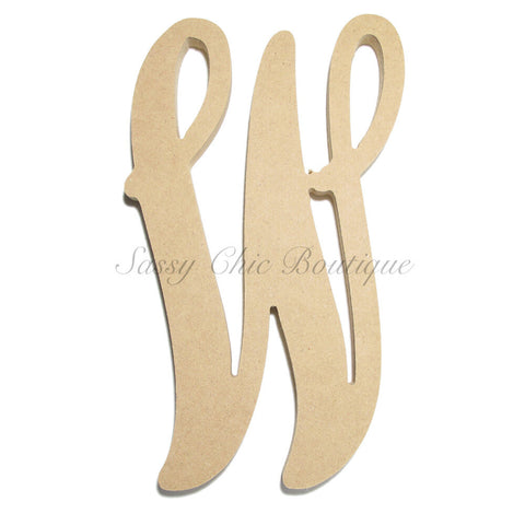 "Unfinished Single Wooden Monogram - Lowercase ""w"" - Vine Font"