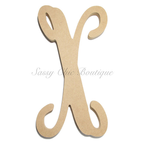 "Unfinished Single Wooden Monogram - Lowercase ""x"" - Vine Font"