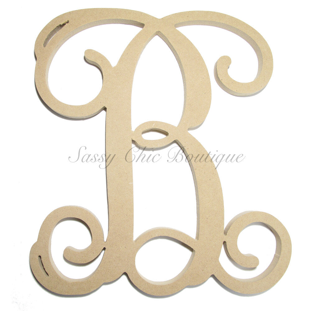 "DIY-Unfinished Single Wooden Monogram - Uppercase ""B"" - Vine Font-Sassy Chic Boutique"