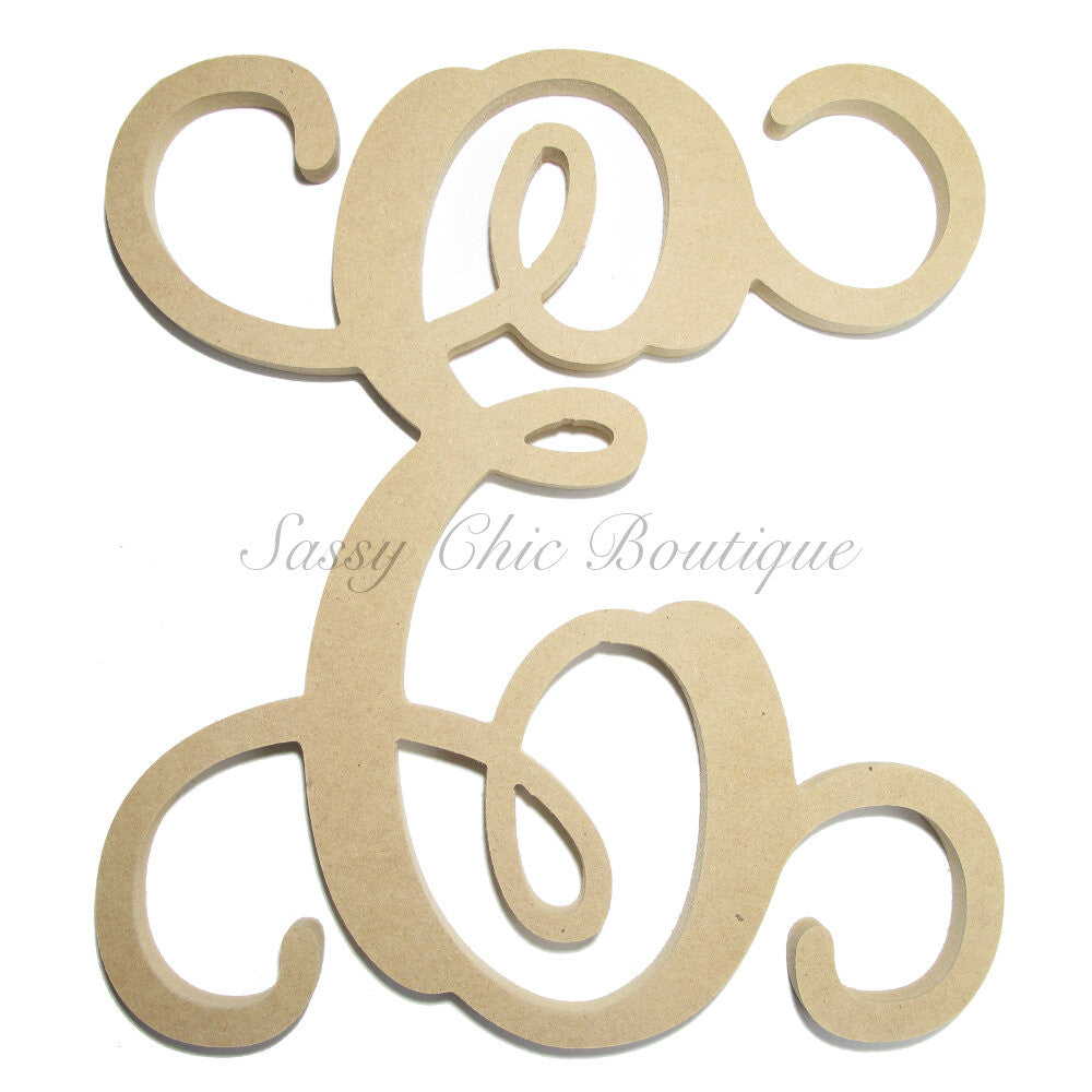"DIY-Unfinished Single Wooden Monogram - Uppercase ""E"" - Vine Font-Sassy Chic Boutique"