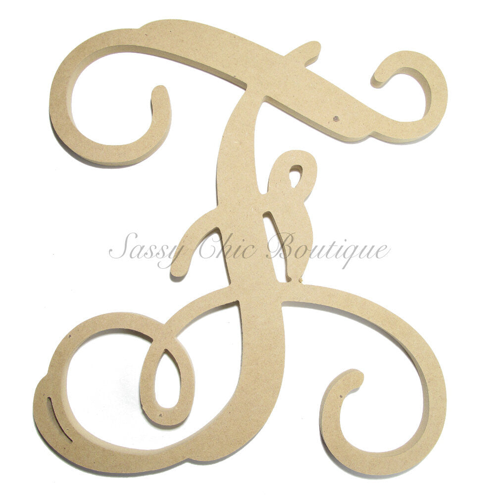 "DIY-Unfinished Single Wooden Monogram - Uppercase ""F"" - Vine Font-Sassy Chic Boutique"