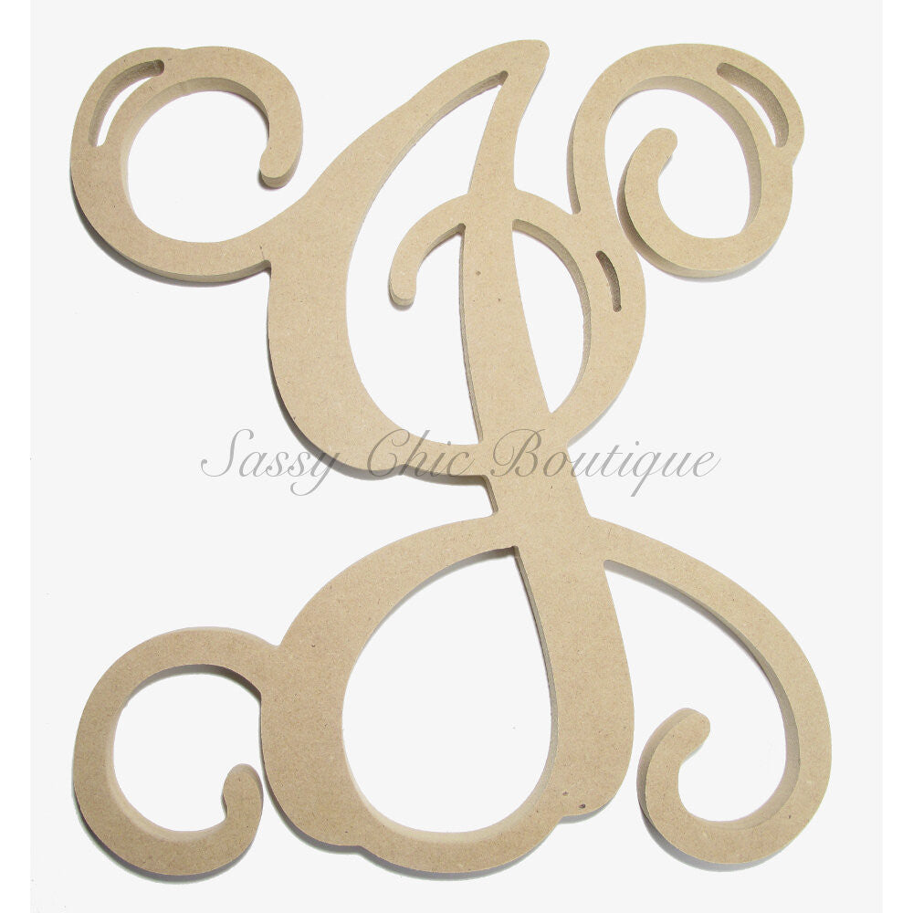"DIY-Unfinished Single Wooden Monogram - Uppercase ""J"" - Vine Font-Sassy Chic Boutique"