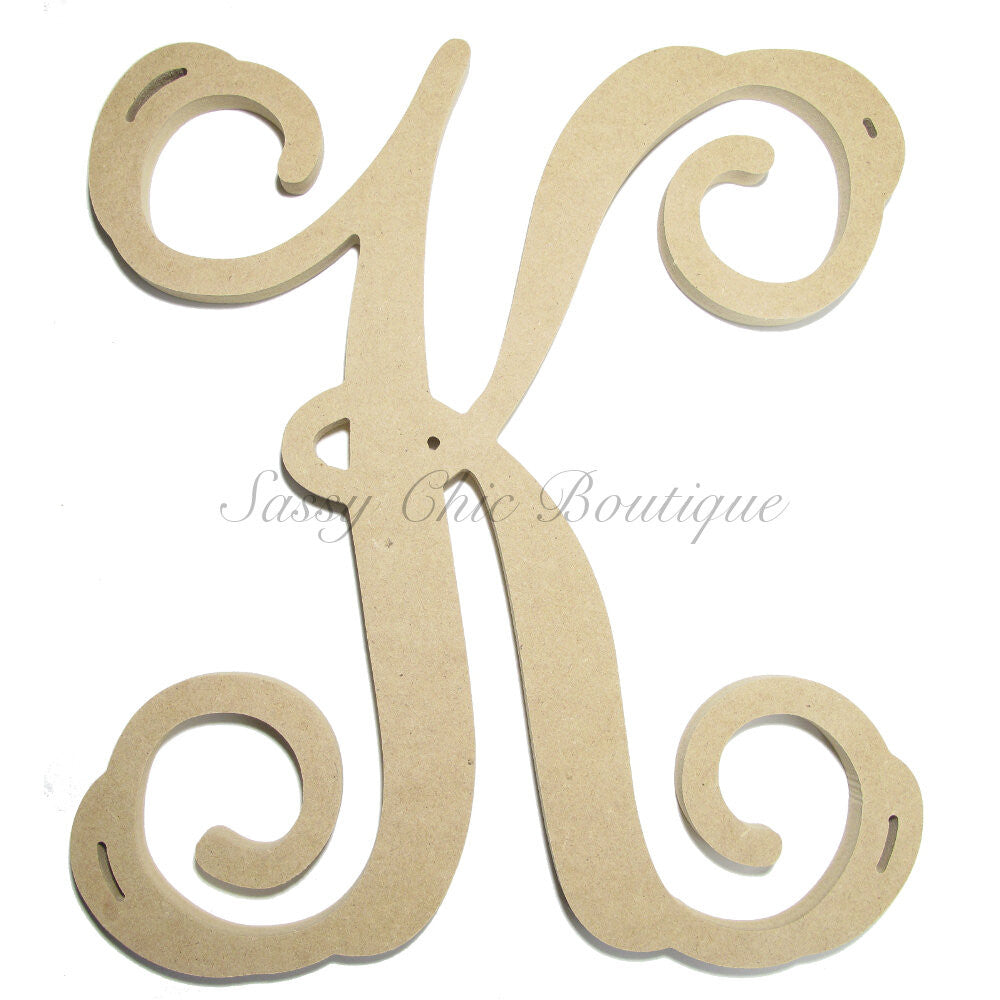 "DIY-Unfinished Single Wooden Monogram - Uppercase ""K"" - Vine Font-Sassy Chic Boutique"