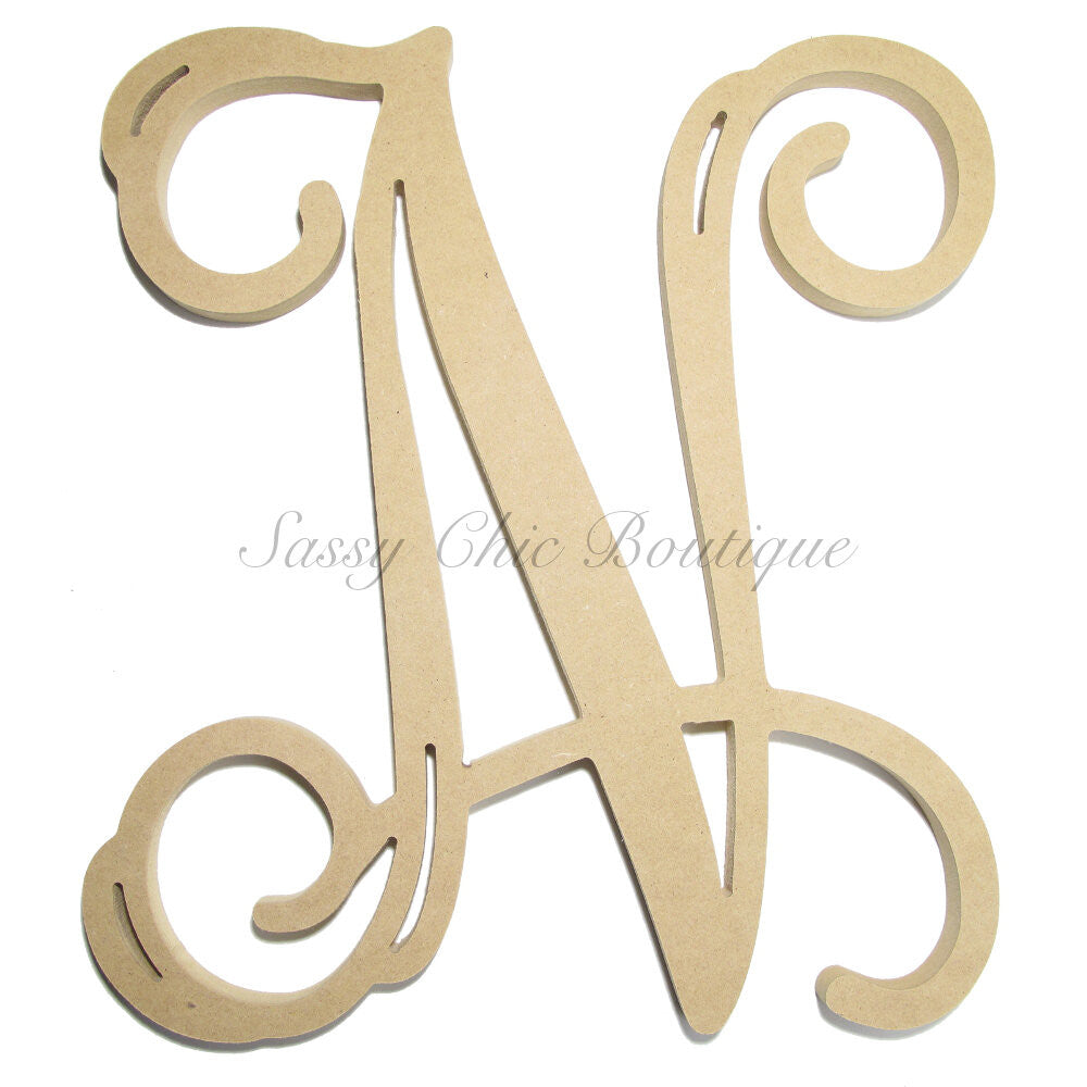 "DIY-Unfinished Single Wooden Monogram - Uppercase ""N"" - Vine Font-Sassy Chic Boutique"