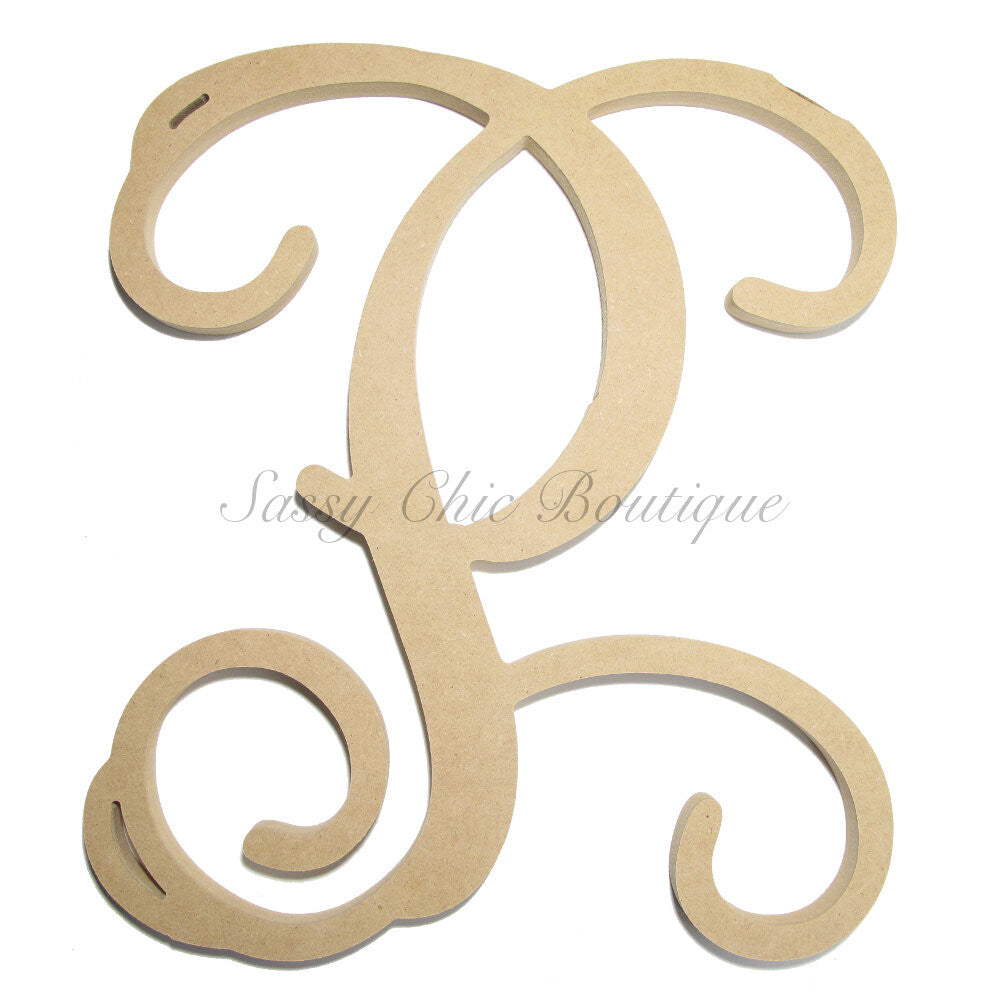"DIY-Unfinished Single Wooden Monogram - Uppercase ""P"" - Vine Font-Sassy Chic Boutique"