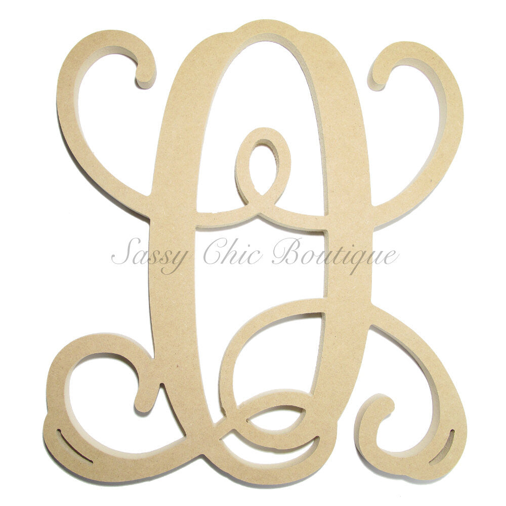 "DIY-Unfinished Single Wooden Monogram - Uppercase ""Q"" - Vine Font-Sassy Chic Boutique"