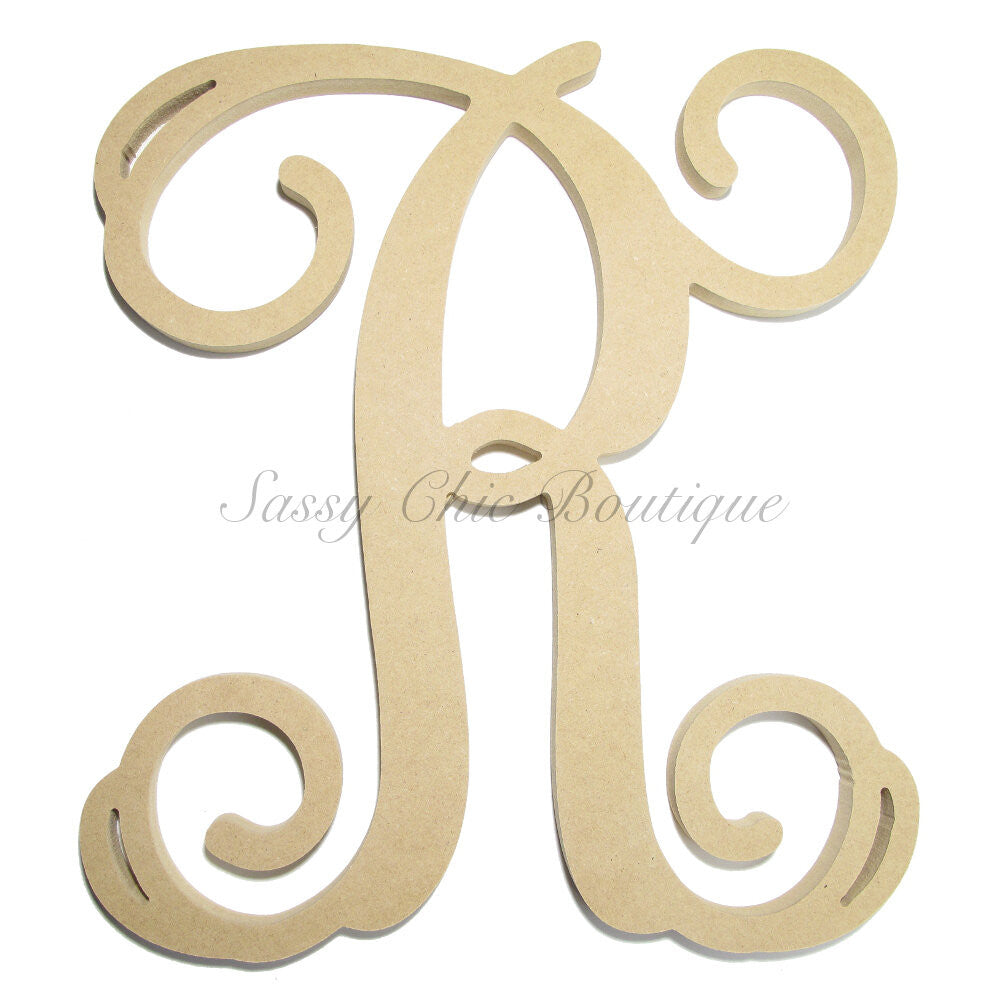 "DIY-Unfinished Single Wooden Monogram - Uppercase ""R"" - Vine Font-Sassy Chic Boutique"