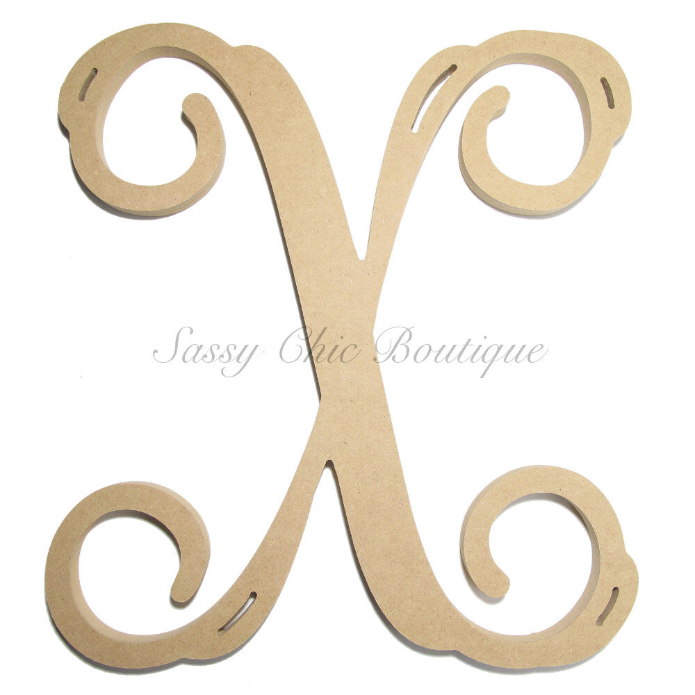 "DIY-Unfinished Single Wooden Monogram - Uppercase ""X"" - Vine Font-Sassy Chic Boutique"