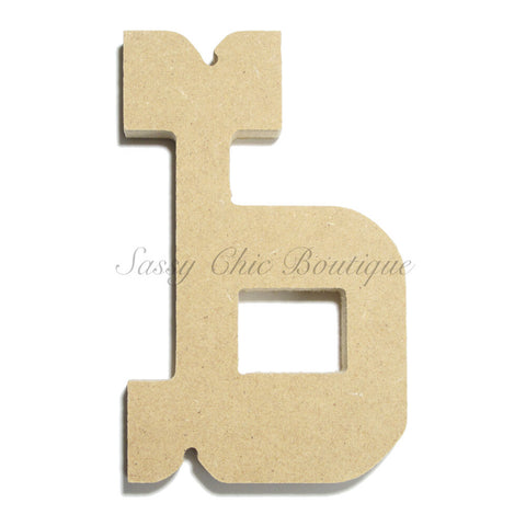 "Unfinished Wooden Letter - Lowercase ""b""- Western Font"