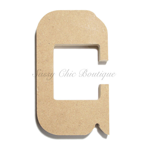 "Unfinished Wooden Letter - Lowercase ""c""- Western Font"