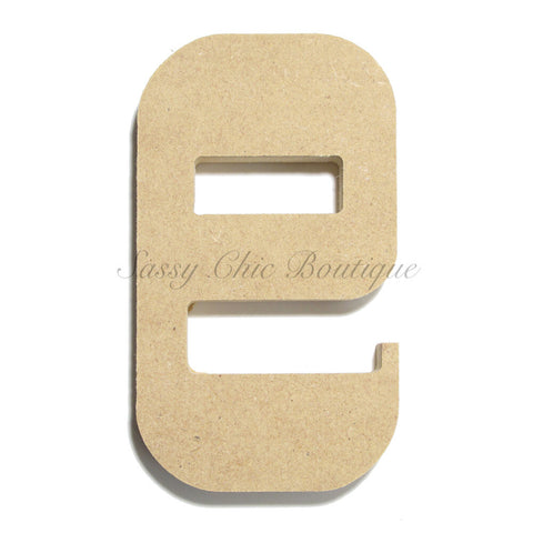 "Unfinished Wooden Letter - Lowercase ""e""- Western Font"