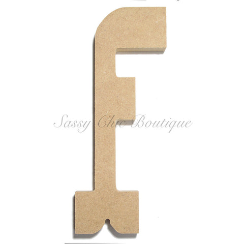 "Unfinished Wooden Letter - Lowercase ""f""- Western Font"