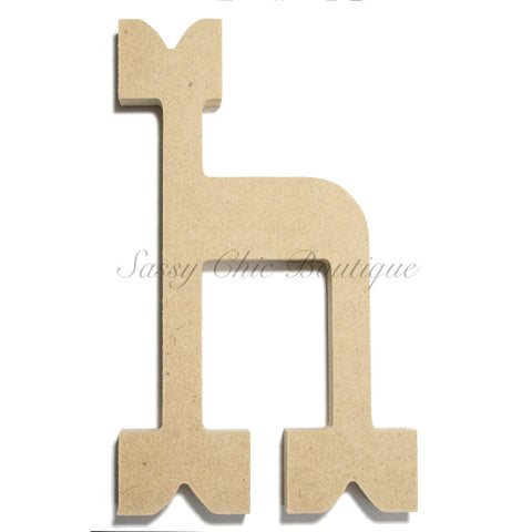 "Unfinished Wooden Letter - Lowercase ""h""- Western Font"