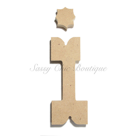 "Unfinished Wooden Letter - Lowercase ""i""- Western Font"