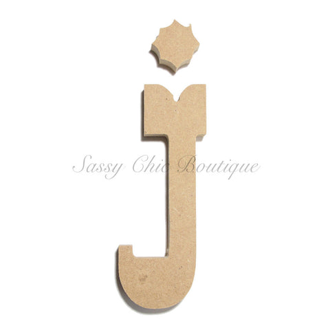 "Unfinished Wooden Letter - Lowercase ""j""- Western Font"