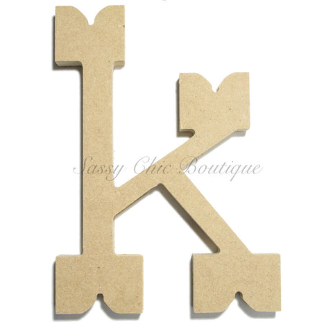 "Unfinished Wooden Letter - Lowercase ""k""- Western Font"