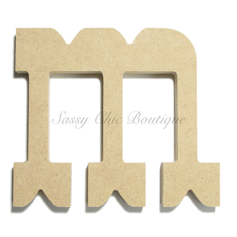 "Unfinished Wooden Letter - Lowercase ""m""- Western Font"
