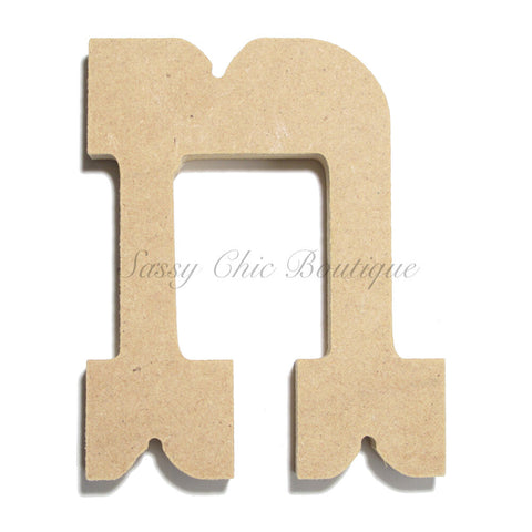 "Unfinished Wooden Letter - Lowercase ""n""- Western Font"