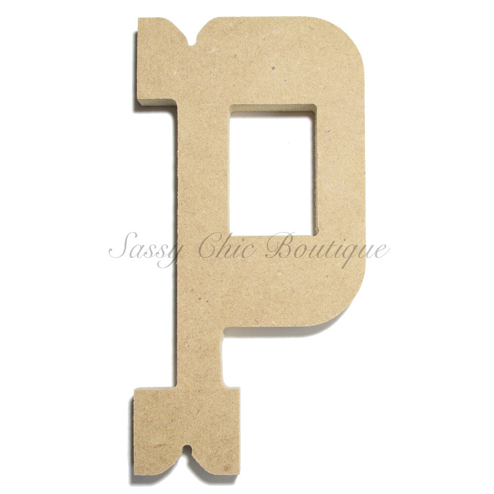 "DIY-Unfinished Wooden Letter - Lowercase ""p""- Western Font-Sassy Chic Boutique"