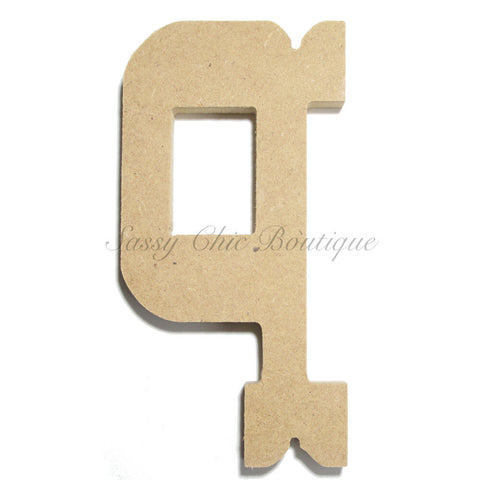 "Unfinished Wooden Letter - Lowercase ""q""- Western Font"