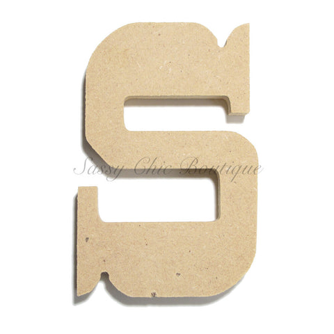 "Unfinished Wooden Letter - Lowercase ""s""- Western Font"